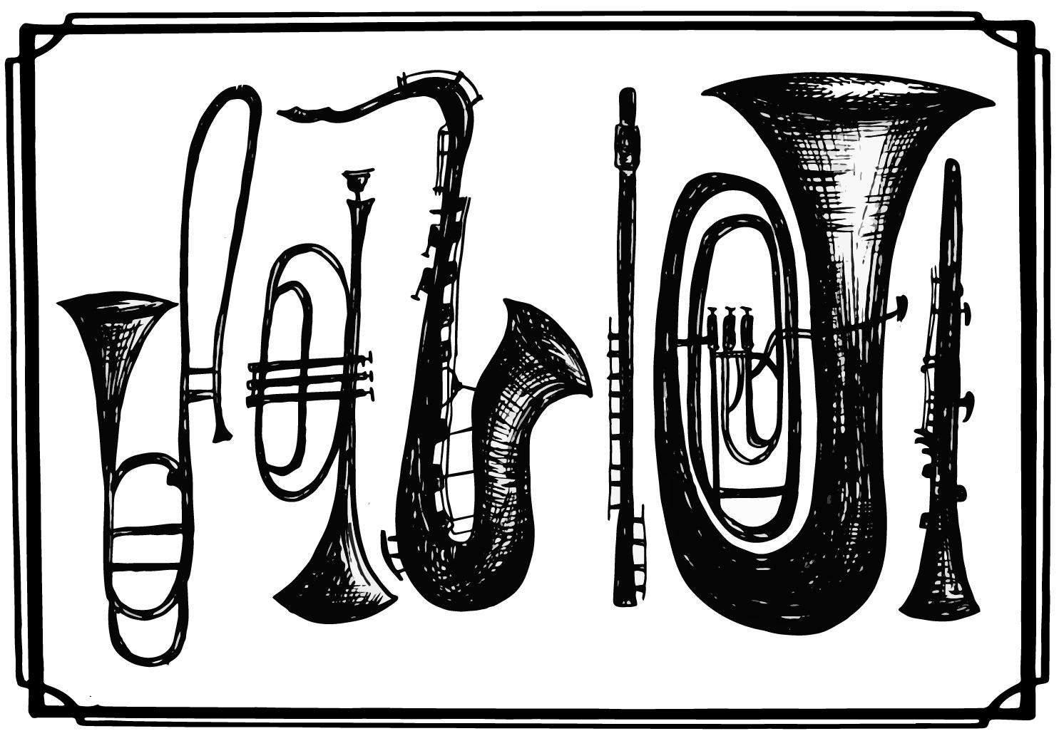 Dessin instruments réparés Atelier La vie des vents